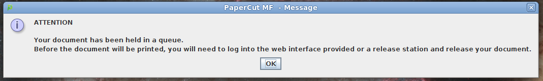 PaperCut Client Notification