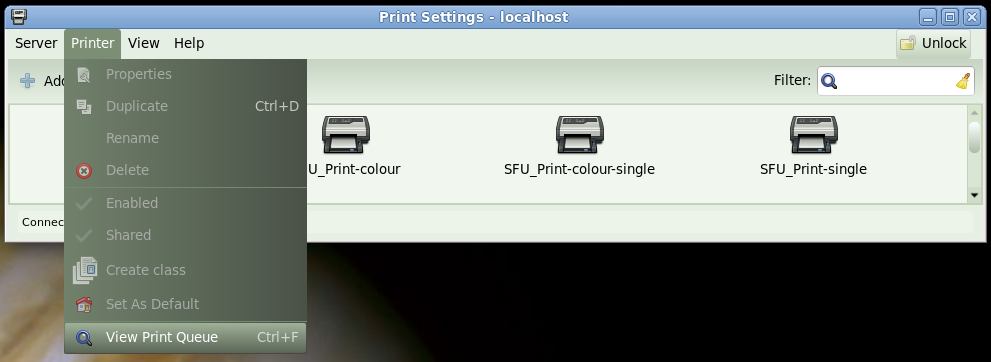 View Print Queue in the Printer menu